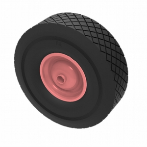 BLACK PUNCTURE PROOF TYRE RED CENTRED WHEEL 300MM X 90MM 25MM BORE - 150KG