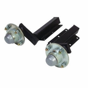 "250KG RUBBER SUSPENSION UNITS WITH EXTENDED STUB (C/W 4 STUD 4"" UNBRAKED HUBS)"