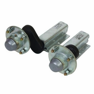 "500KG RUBBER SUSPENSION UNITS WITH EXTENDED STUB (C/W 4 STUD 4"" UNBRAKED HUBS)"