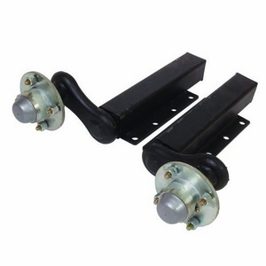 "750KG RUBBER SUSPENSION UNITS WITH EXTENDED STUB (C/W 4 STUD 4"" UNBRAKED HUBS)"
