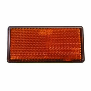 LARGE OBLONG SELF ADHESIVE AMBER REFLECTOR