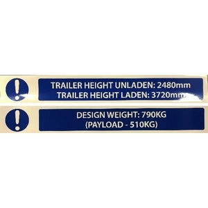 125 V SERIES HEIGHT & WEIGHT LABELS - SET