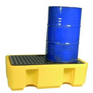 YELLOW TWO DRUM VERTICAL STORAGE PALLET 130 X 75 X 44CM
