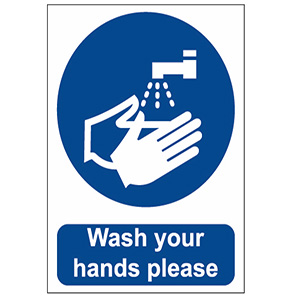 WASH YOUR HANDS SELF ADHESIVE VINYL SIGN 200MM x 150MM