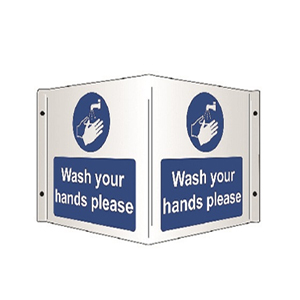 WASH YOUR HANDS 430MM X 200MM PVC PROJECTING SIGN
