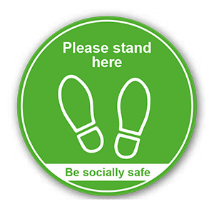 ROUND ANTI-SLIP FLOOR GRAPHIC -  'PLEASE STAND HERE / BE SOCIALLY SAFE' 200MM DIA