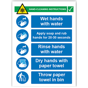 PVC SIGN - HAND CLEANING INSTRUCTIONS 450MM X 600MM X 1MM